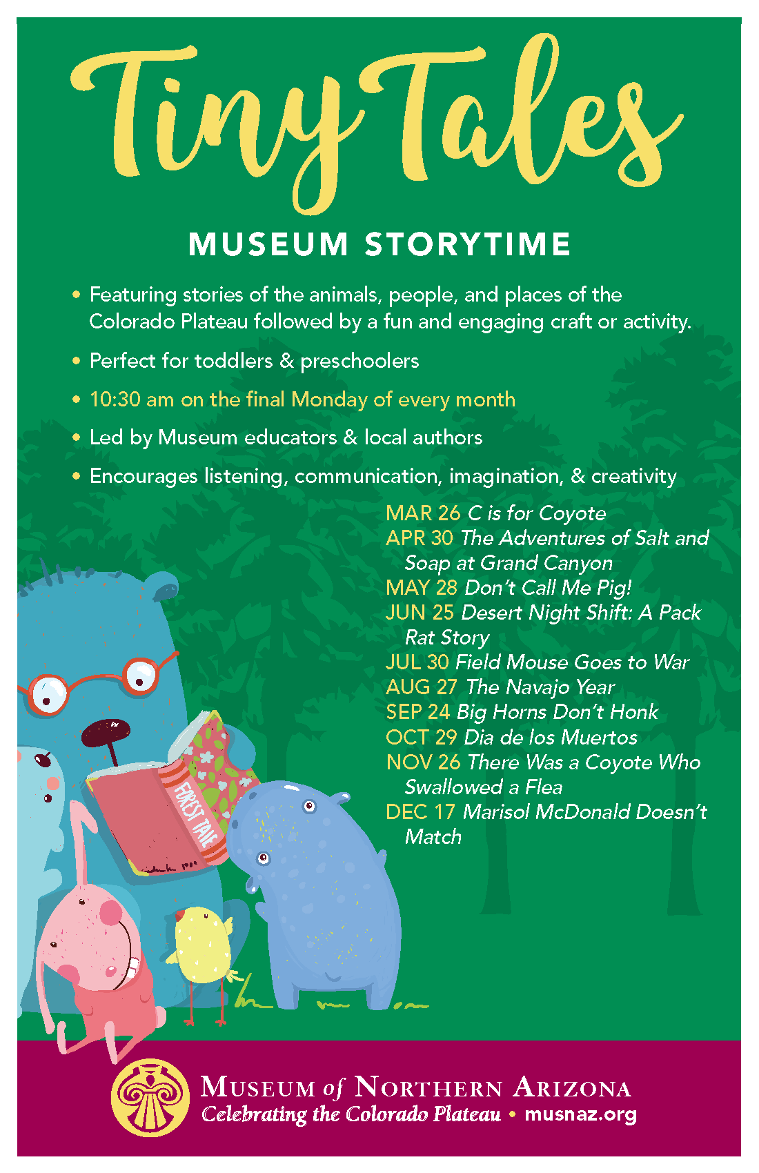 Extending learning to the youngest children at the Museum of Northern Arizona Tiny-Tales-Flyer-through-Dec.-2018