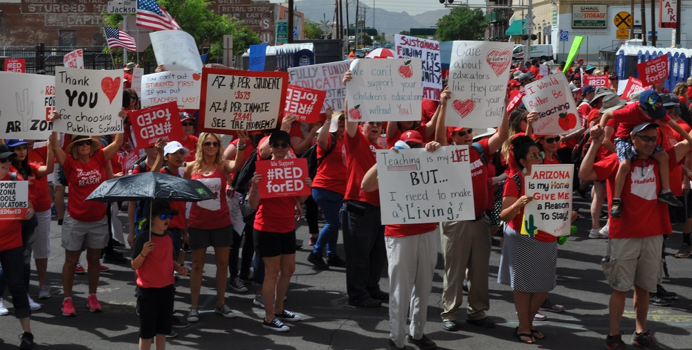 Teachers And Education Supporters At The #RedForEd March And Rally On April 26, 2018. Photo By Lisa Irish/AZEdNews