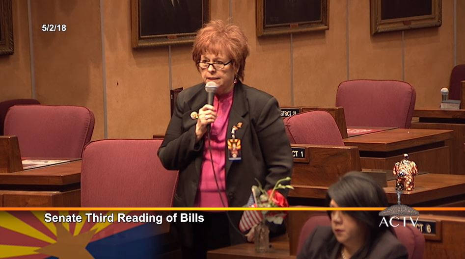 Sen. Sylvia Allen Discussed Her Vote On HB 2663 On May 3, 2018. Photo Courtesy Arizona Capitol Television