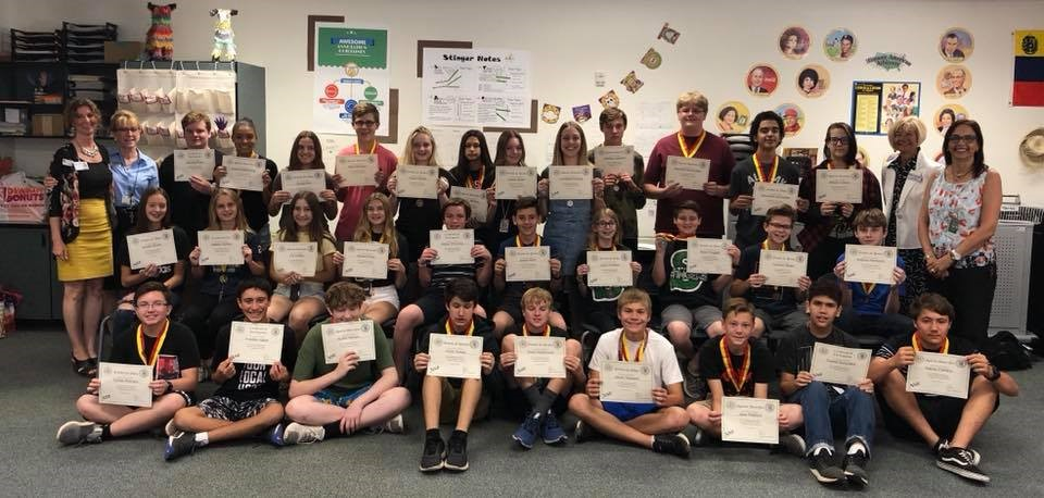 Sonoran Trails Middle School Students To Placed On The National Spanish Exam. Photo Courtesy Cave Creek Unified School District