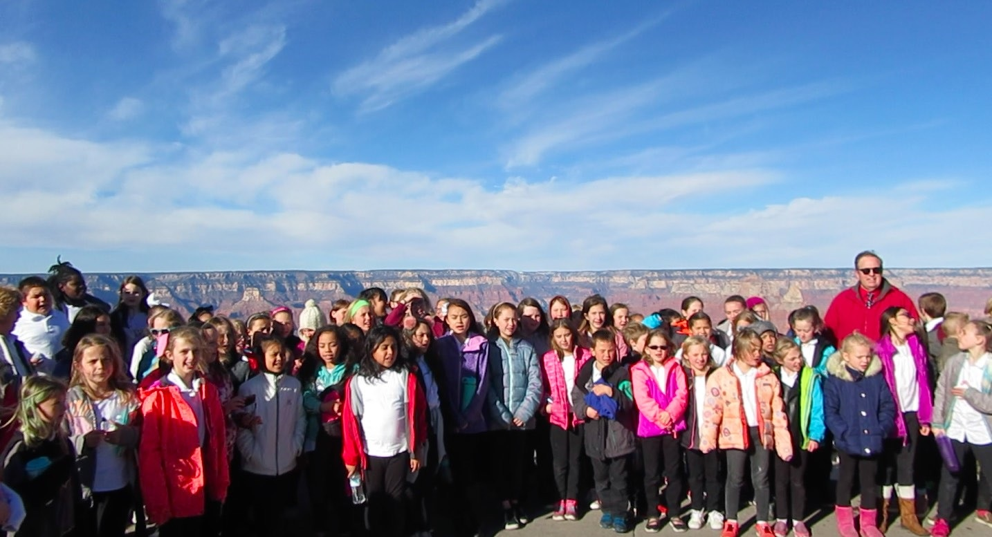 Knoles And Sechrist Elementary Schools' Choir Students And Their Teachers Joe Rauschenbach And Faun Nichols Were Invited To The Grand Canyon National Park To Perform During The Celebration Of The Parks 99th Birthday. Photo Courtesy Flagstaff Unified School District
