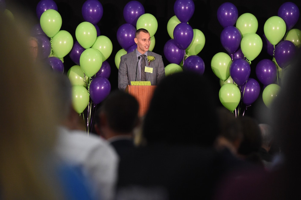 Arizona Educational Foundation's 2018 Arizona Teacher Of The Year Josh Meibos At The Awards Luncheon In November. Photo Courtesy Arizona Educational Foundation