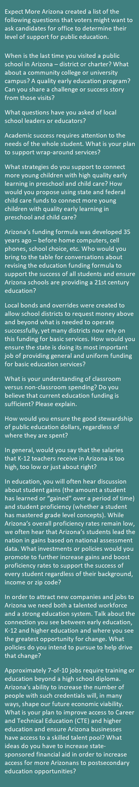 Voting records show legislators' levels of support for public education Expect-More-Arizona-questions-to-ask-candidates-sidebar