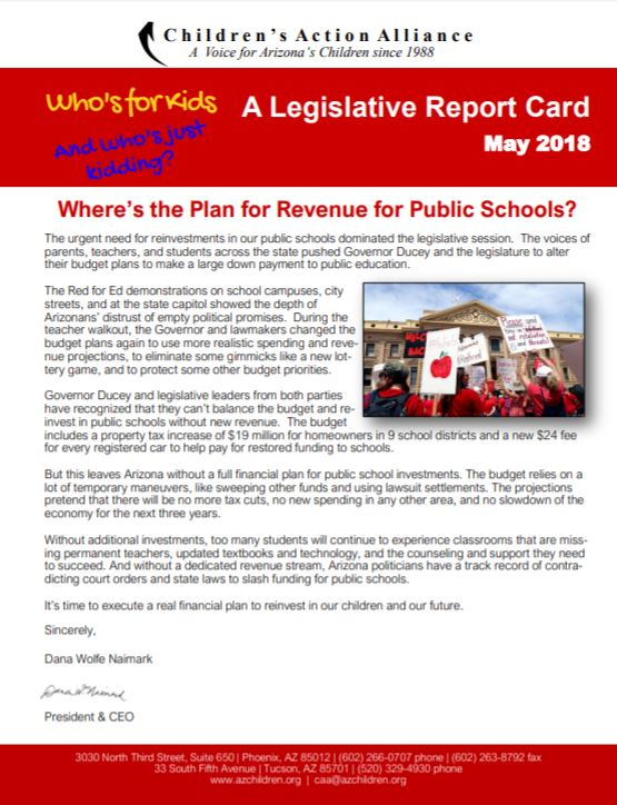 Voting records show legislators' levels of support for public education WhosForKidsAndWhosJustKidding2018ReportCover