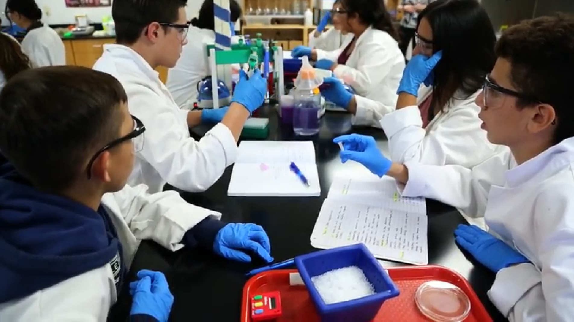 Students In Sunnyside High School's Bioscience Program Perform Lab Work. Photo Courtesy Brooke Razo/Arizona School Boards Association