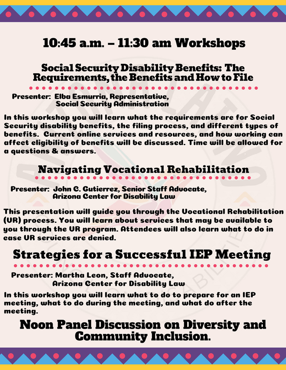 Alhambra High School hosts Disability Forum and Expo on Sept. 8 Workshop-list-page-1