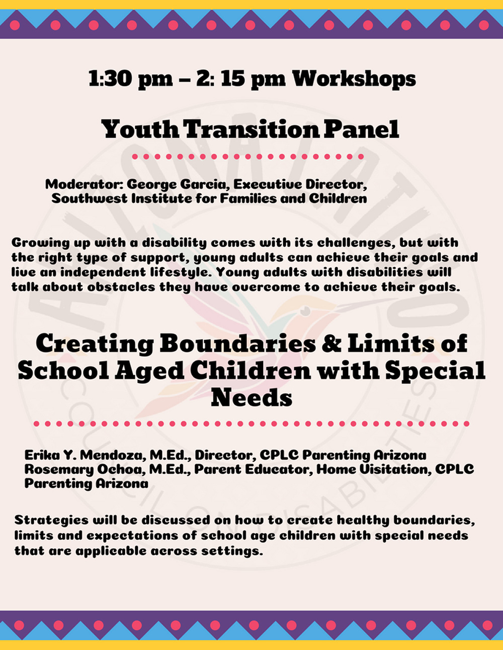Alhambra High School hosts Disability Forum and Expo on Sept. 8 Workshop-list-page-2