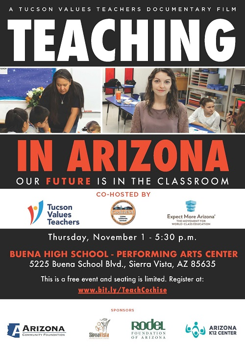 Screenings around the state of a new, short documentary film TEACHING IN ARIZONA Cochise-Sierra-Vista-Nov-1-TEACHING-IN-ARIZONA-500