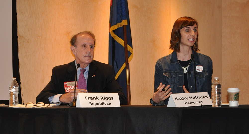 Frank Riggs And Kathy Hoffman During The Superintendent Of Public Instruction Debate Oct. 2, 2018 In Phoenix. Photo By Lisa Irish/AZEdNews