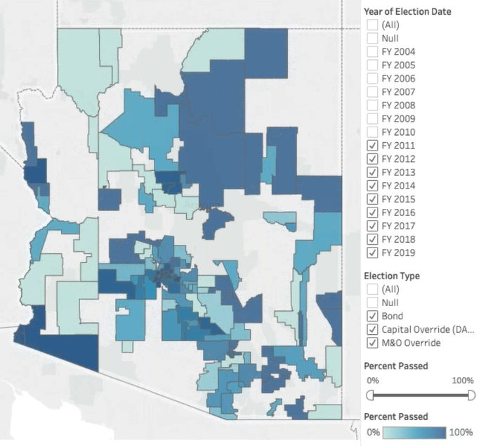 Arizonans approve 77% of school bond, override elections Bond-Override-Pass-Map-since-2011