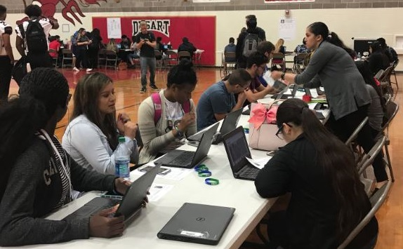 Volunteers With The Arizona College Application Campaign Help All Seniors Complete An Application And Answer Students' Questions At Dysart High School. Photo Courtesy Arizona Commission On Postsecondary Education