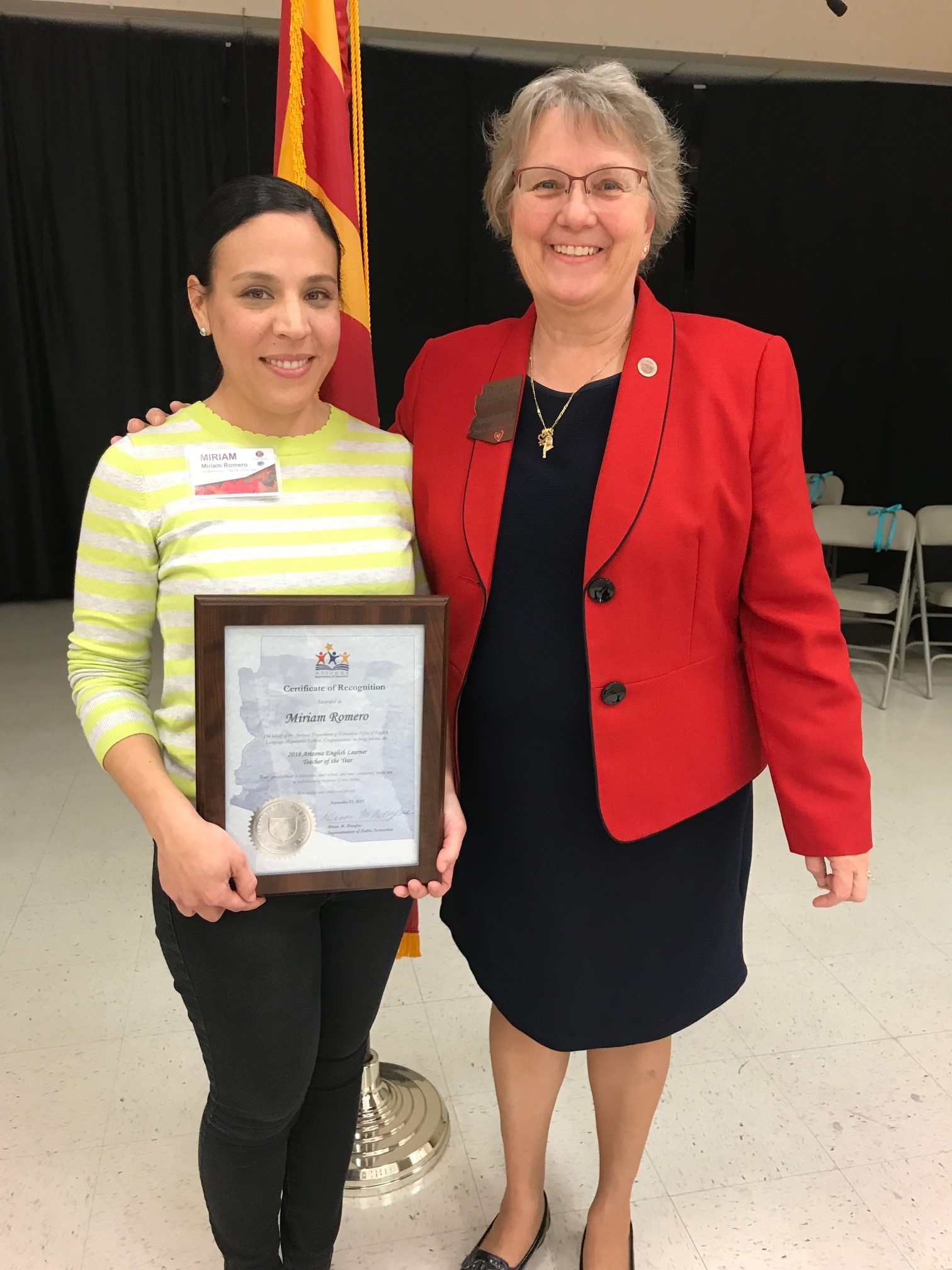 Ms. Miriam Romero, Left, From Carrillo K-5 Magnet School Has Been Named The 2018 Arizona English Language Learner Teacher Of The Year. Photo Courtesy Of Tucson Unified School District
