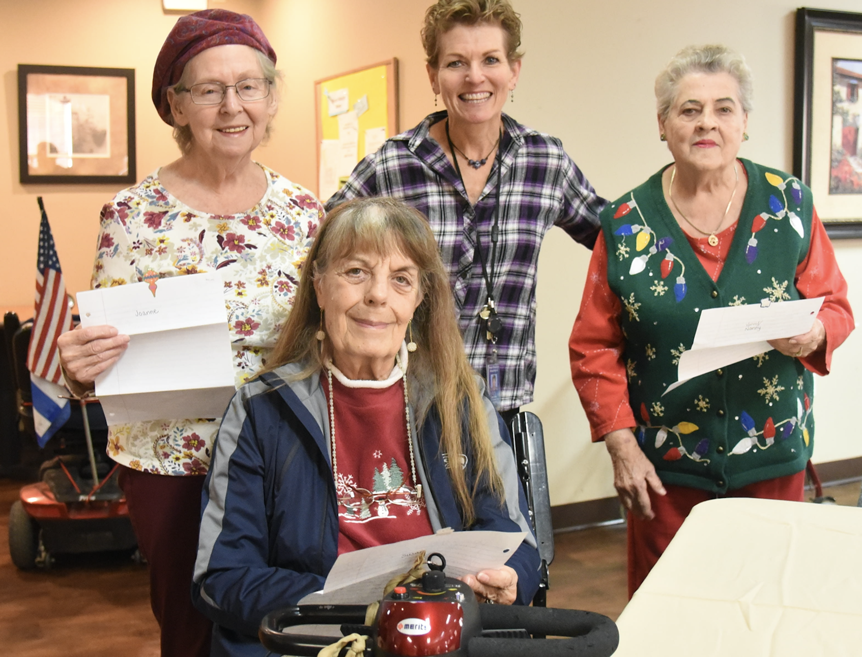 Amy Garza, The Tempe Elementary School District Employee Who Developed The Pen Pals For Seniors Program, Pictured In The Middle With Seniors Involved In The Program. Photo Courtesy Tempe Elementary School District