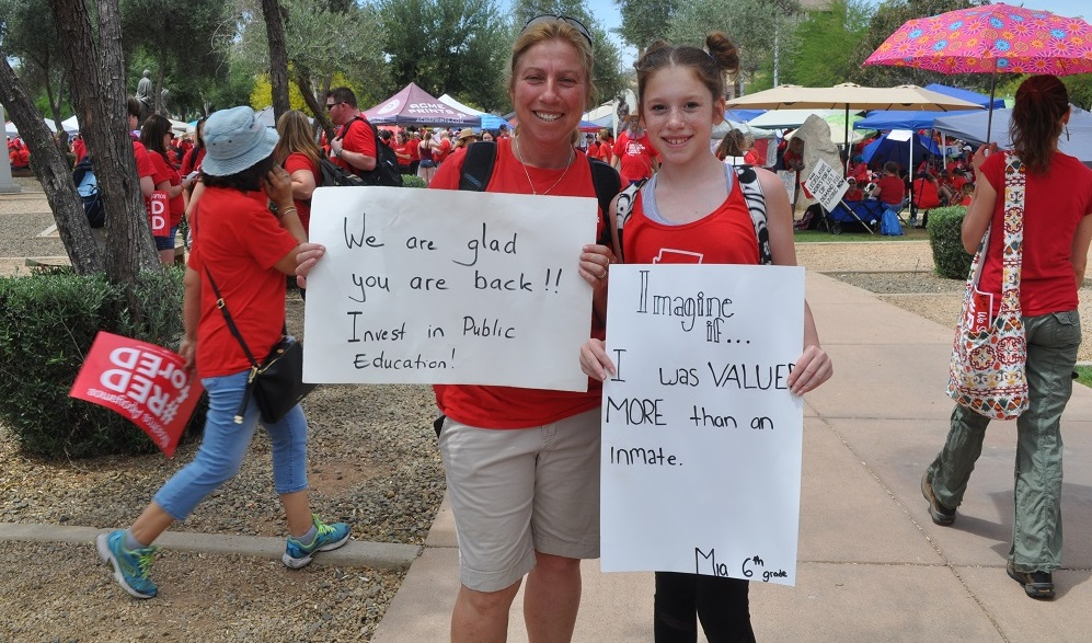 A Teacher And Student Greet Legislators As They Returned To The Capitol April 30, 2018. Photo By Lisa Irish/AZEdNews