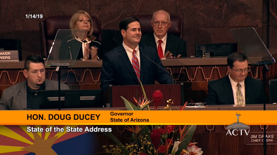 Gov Doug Ducey At His State Of The State Address Jan. 14, 2019 At The Arizona Capitol In Phoenix. Photo Courtesy Of Arizona Capitol Television