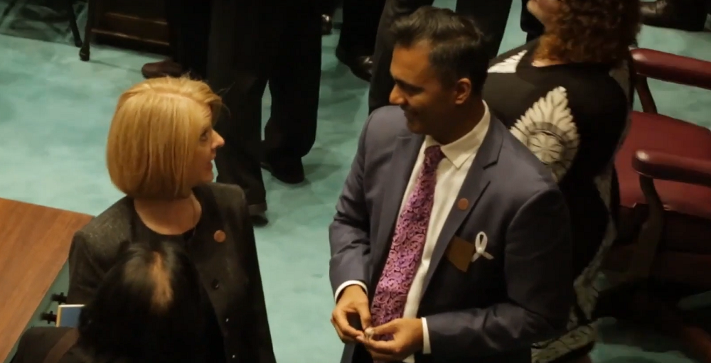 Sen. Heather Carter And Rep. Amish Shah Visit Before Gov. Doug Ducey's State Of The State Address On Jan. 14, 2019 At The Arizona Legislature In Phoenix. Photo By ASBA