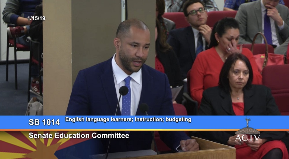 Lawrence Robinson, Roosevelt School District Governing Board Member And ASBA Board Of Directors President, Speaks In Support Of Senate Bill 1014 On English Language Learners At The Senate Education Committee Meeting On Jan. 15, 2019 At The Capitol In Phoenix. Photo Courtesy Of Chris Kotterman/ASBA