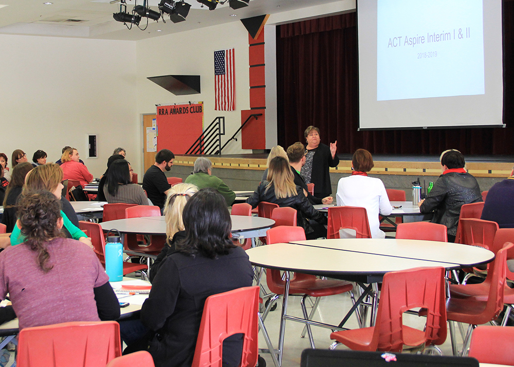 Rio Rico High School Principal Shelly Vroegh Leads A Professional Development Discussion With Teachers About The New 2018-19 ACT Test On January 30, 2019. Photo Courtesy Carol Cullen/ Santa Cruz Valley Unified School District No. 35.