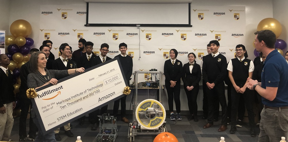 Surprise! Amazon Presents Maricopa Institute Of Technology Students With $10,000 STEM Grant. Photo Courtesy Amazon