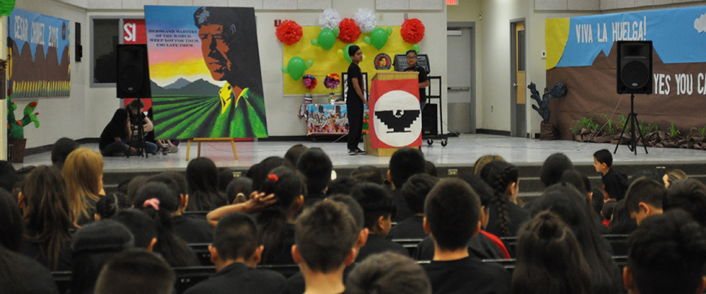 Cesar Chavez Leadership Academy Students Lead And Take Part In An Assembly Honoring The Civil Rights Leader On Friday, March 29. Photo By TaMeia Murphy/AZEdNews