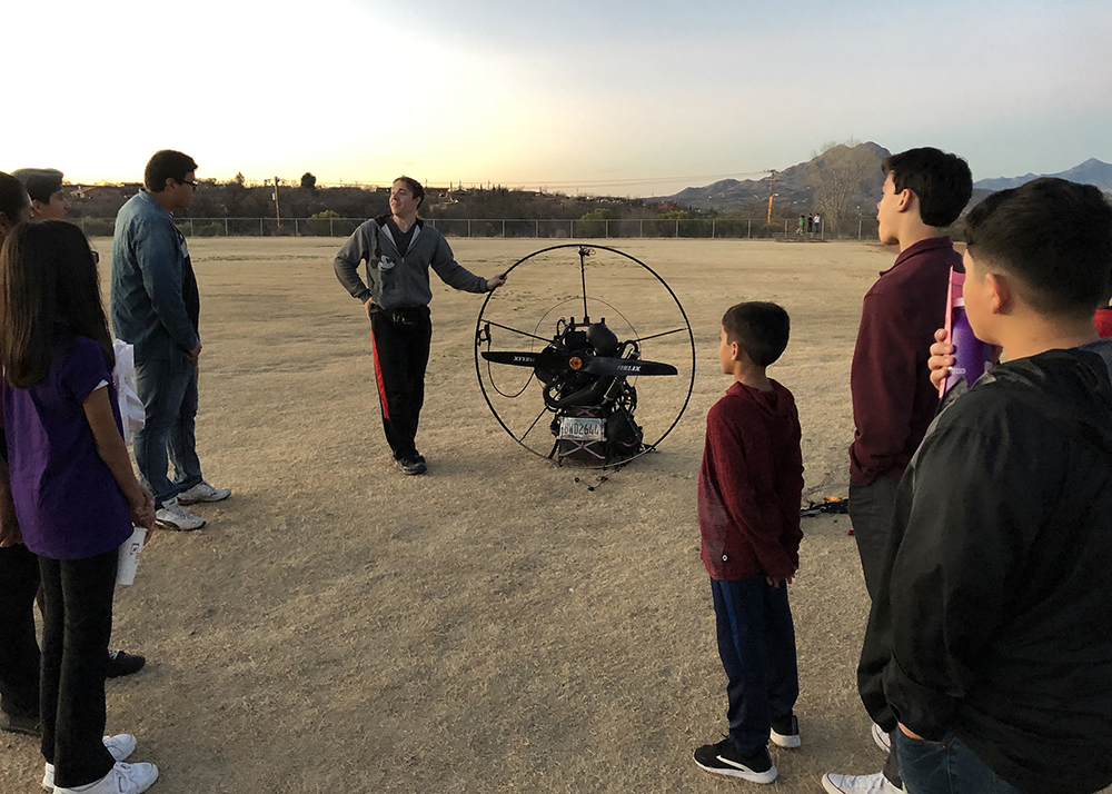 Special Guest Gabriel Brown With Paramotor. Photo Courtesy Marcy Miller/ Santa Cruz Valley Unified School District
