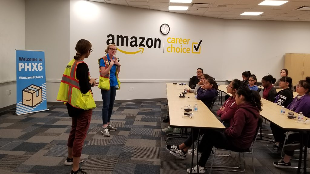 Amazon tour aims to inspire local girls to pursue technology careers Amazon-Women-with-students-1024x576