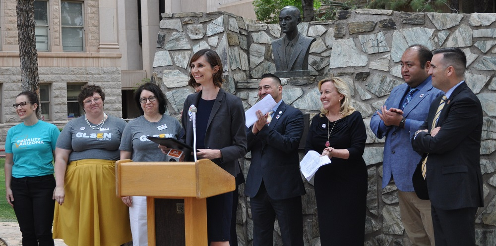 "Arizona Supt. Of Public Instruction Kathy Hoffman Speaks At The Press Conference To Celebrate The Passing Of SB 1436 Which Overturns The ""no Promo Homo"" Clause In Previous Legislation About The Instruction Of HIV/AIDS In Arizona Public Schools. Photo By Lisa Irish/AZEdNews"