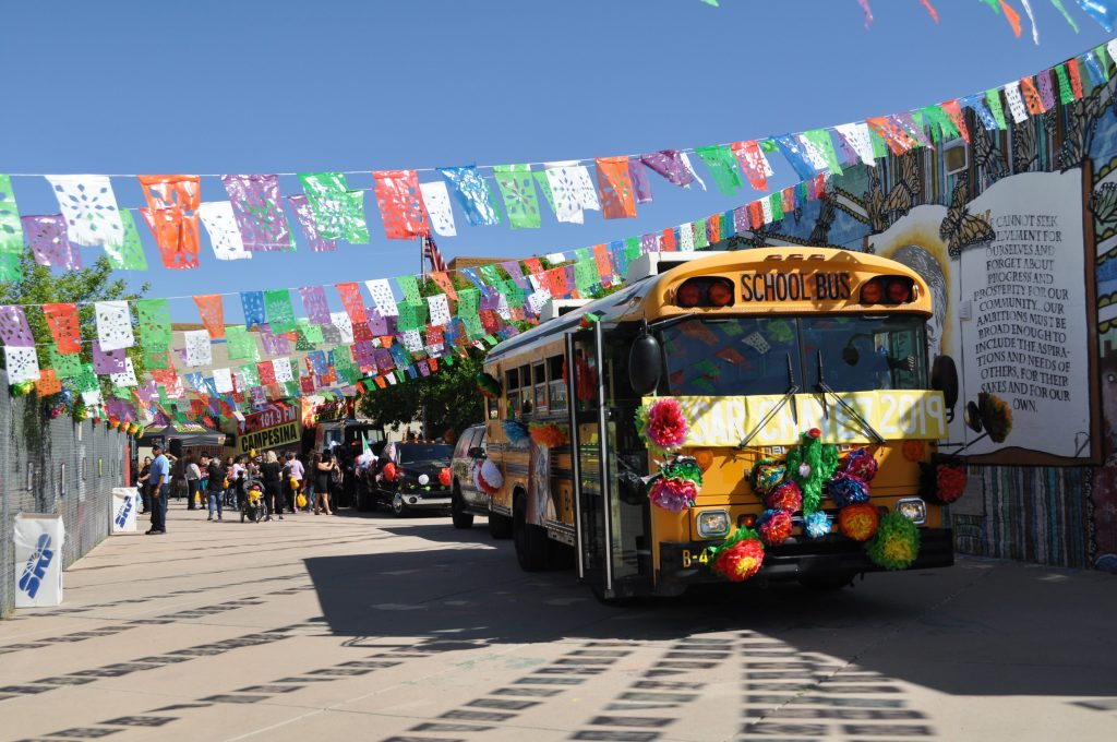 Arizona students celebrate the life and work of César Chávez 6-CCLA-bus-as-parade-begins-1024x680