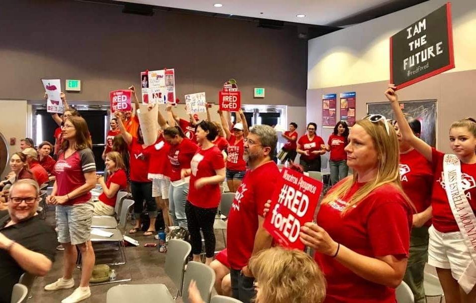 #RedForEd seeks action on per-pupil funding and other demands not met last year Budget-Town-Hall-photo-Courtesy-Kelley-Wendland-Fisher-and-Arizona-Educators-United-HP