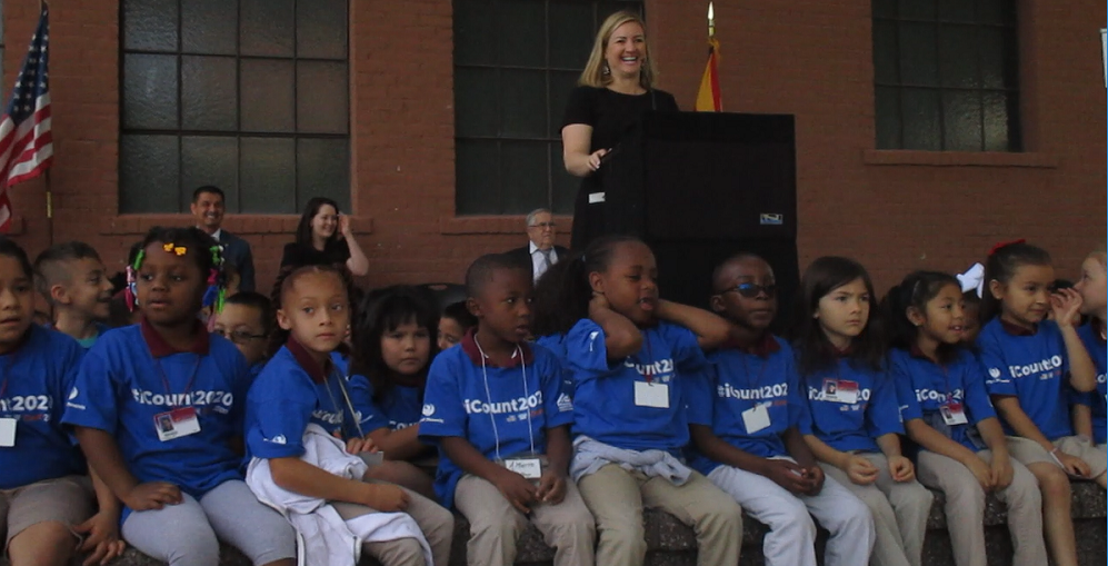 "At The State Level, The Census ""represents $2,959 Per Person, Which Equals An Annual Amount Of $20 Billion,"" Said Phoenix Mayor Kate Gallego, Surrounded By First-graders From ASU Preparatory Academy Wearing T-shirts That Read #iCount2020 At The Kick-off Event. Photo By Lisa Irish/AZEdNews"