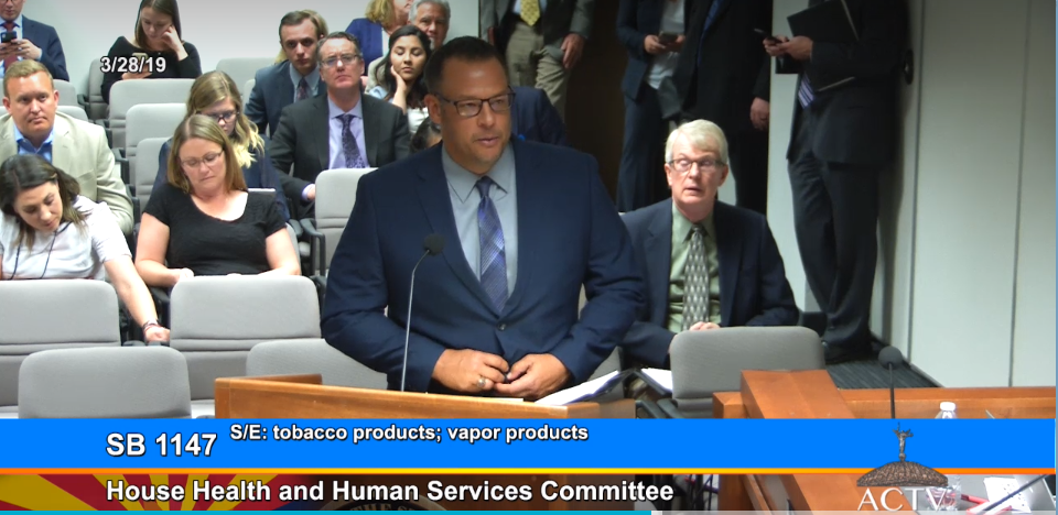 Marcus Williams With Chandler Unified School District Talks About His Concerns About SB 1147 At The House Health And Human Services Meeting On March 28, 2019. Photo Courtesy Arizona Capitol Television