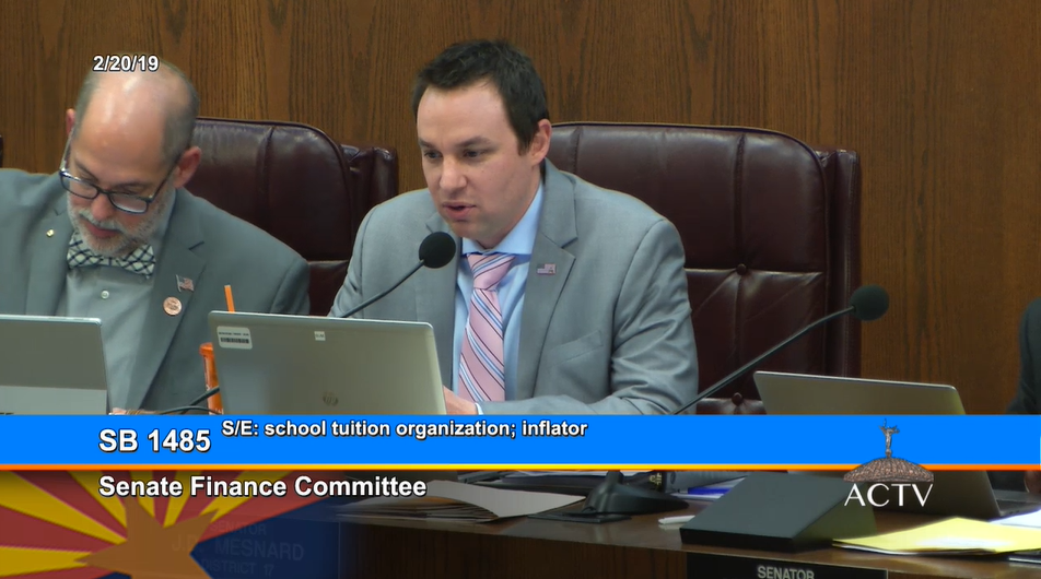 """I'm Obviously Very Supportive Of The Program, But Obviously We Need To Balance That Out With Corporate Tax Revenues. This Would Phase It Down To An Inflationary Adjustment,"" Said Sen. J. D. Mesnard In The Senate Finance Committee On February 20, 2019. Photo Courtesy Arizona Capitol Television"