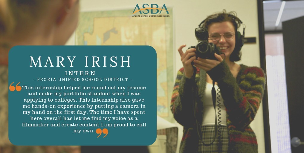 ASBA Multimedia Intern Flyer Cover Photo Featuring Mary Irish An Intern From The Peoria Unified School District