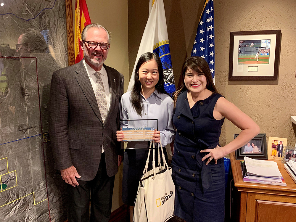 Mayor Jim Lane, Amy Zhou And Toni Morales Broberg, President Of AT&T Arizona, At A Recognition Event For Zhou At The Mayor's Office On May 29. Photo Courtesy Of AT&T Global Media Relations