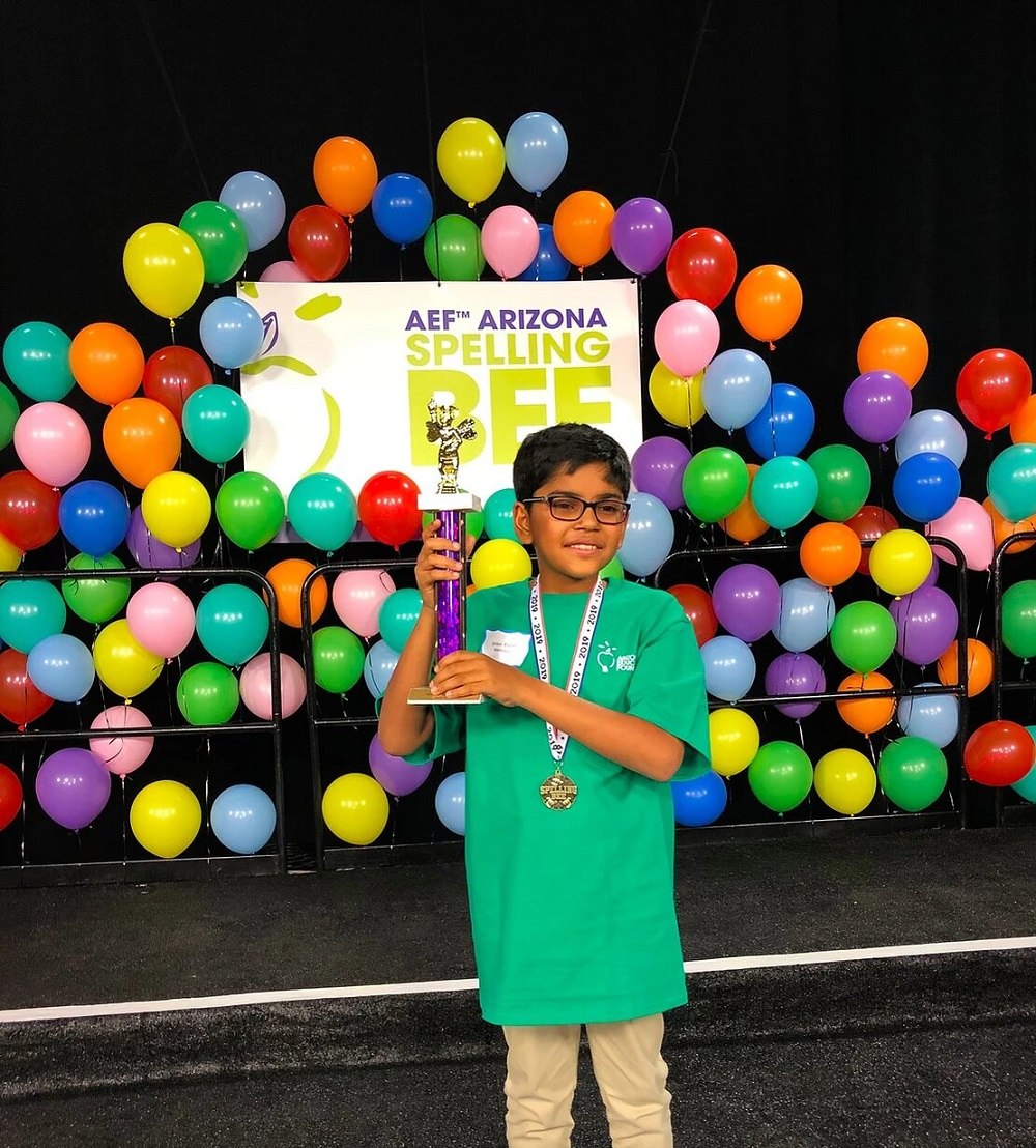 The Arizona Spelling Bee Champion, Omkar Bharath, Will Represent Arizona In The 92nd Annual Scripps National Spelling Bee May 26th-31st. Photo Courtesy Arizona Educational Foundation