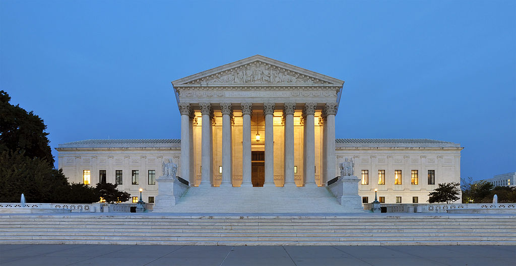 Panorama Of The West Facade Of United States Supreme Court Building At Dusk In Washington, D.C., USA.. Photo Courtesy Of Joe Ravi CC-BY-SA 3.0
