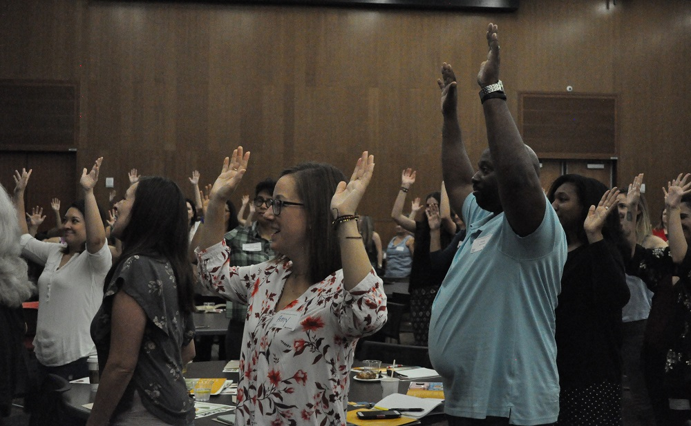 Trauma-Sensitive Schools Symposium Attendees Take Part In A Simon Says Game Led By Keynote Speaker Rick Griffin During The Conference At Arizona State University In Tempe On June 4, 2019. Photo By Lisa Irish/AZEdNews