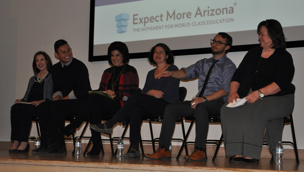 "Nathaniel Rios, Second From Right, Talks About What It's Like Teaching In Arizona As Kathy Wiebke, Far Right, Filmmaker Lisa Molomot, Third From Right, And Dr. Camille Casteel, Fourth From Right, Listen During A Panel Discussion At A Phoenix Screening Of The Documentary ""Teaching In Arizona."" Photo By Lisa Irish/AZEdNews"