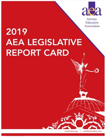 Before voting: Check  Legislators' support for public education 2019-AEA-Legislative-Report-Card-360