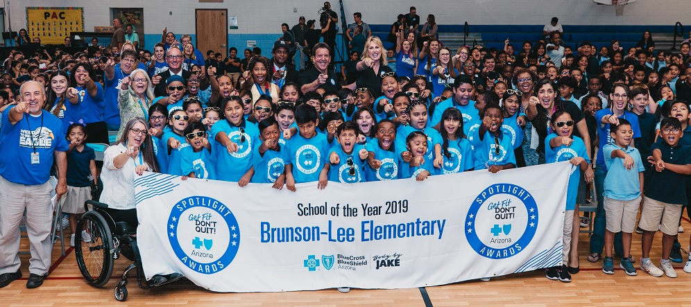 "Blue Cross Blue Shield Of Arizona And Fitness Icon Jake ""Body By Jake"" Steinfeld Unveiled The New Get Fit. Don't Quit! Fitness Center At Brunson-Lee Elementary School In Phoenix, Which Will Be Utilized By Students And Staff. Photo Courtesy Of Blue Cross Blue Shield Of Arizona"
