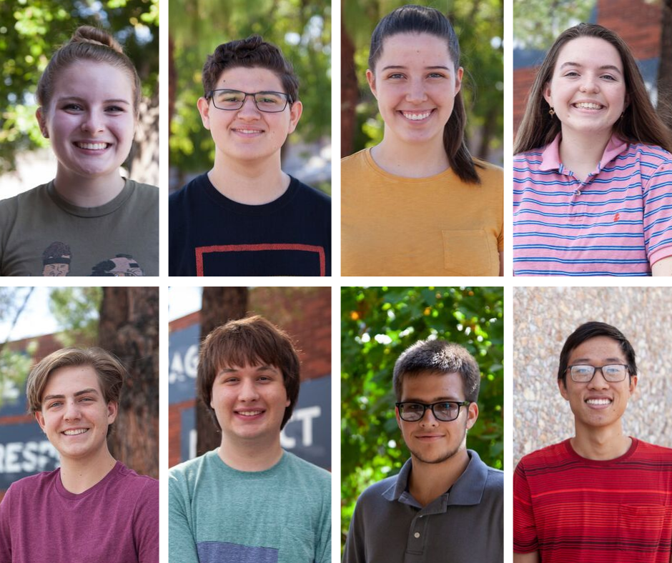 District Seniors From Mesa, Mountain View, Red Mountain, Skyline And Westwood High Schools Have Been Named As Semifinalists In The 2020 National Merit Scholarship Program.(Pictured: Top (L To R): Hodge, Knighton, Merrill, Jensen. Bottom (L To R): Schomaker, Smith, Lynch, He. Photos By Tim Hacker/Mesa Public Schools)