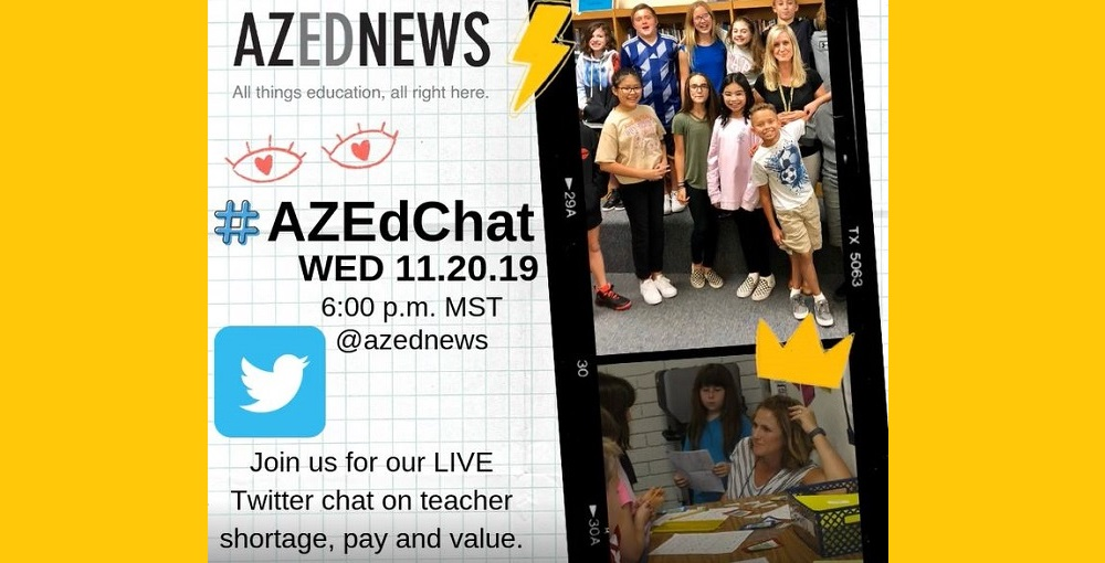 AZEdNews #AZEdChat On Twitter Graphic For Event On Wednesday, Nov. 20 At 6 P.m. MST. Graphic By Heidi Otero/ AZEdNews