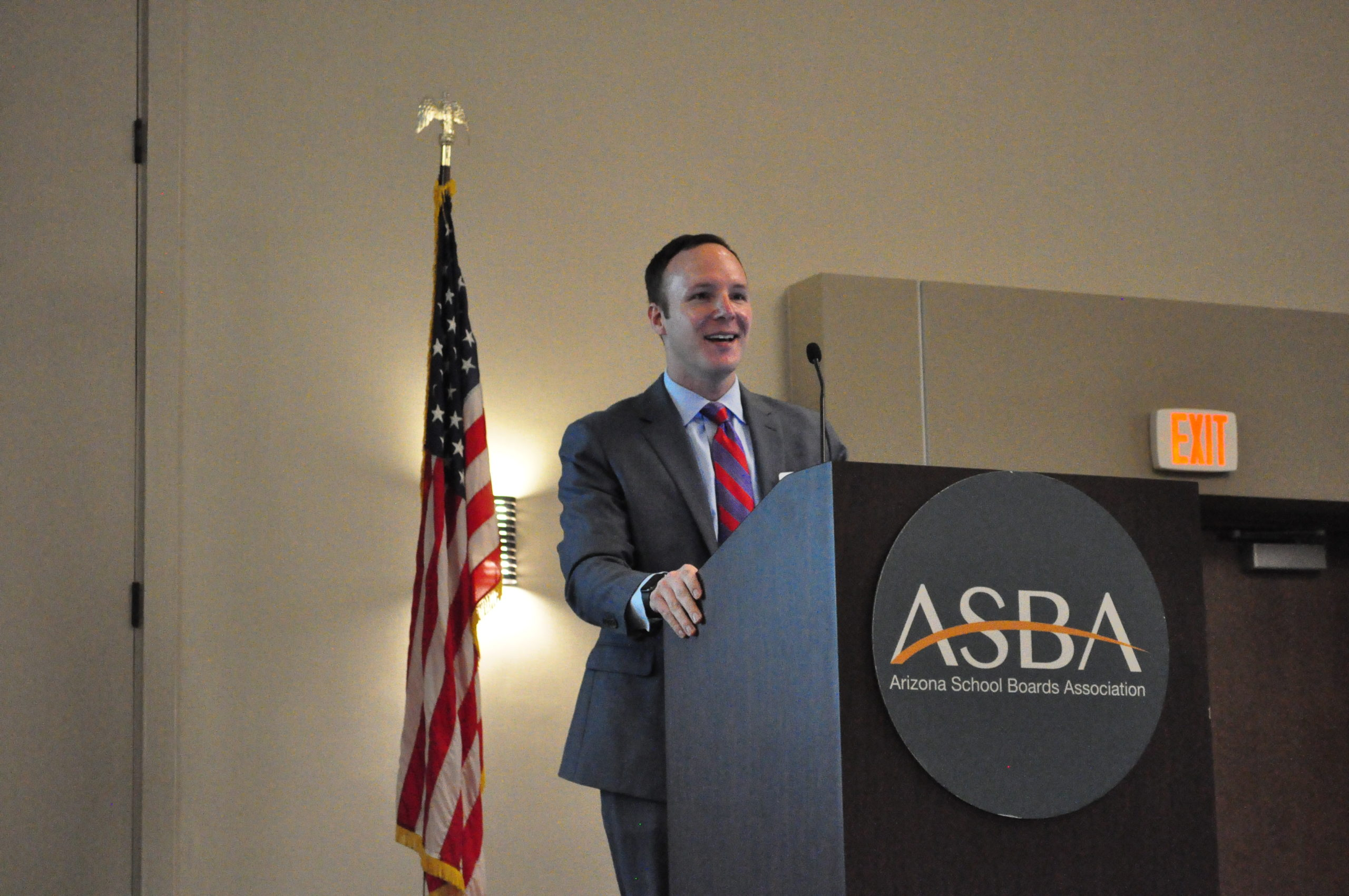 Matt Gress, Director Of The Governor's Office Of Strategic Planning And Budgeting, Talks About General Fund Revenue And The Budget Forecast At The Legislative Workshop Sponsored By Arizona School Boards Association On Nov. 15, 2019 In Mesa. Photo By Lisa Irish/AZEdNews