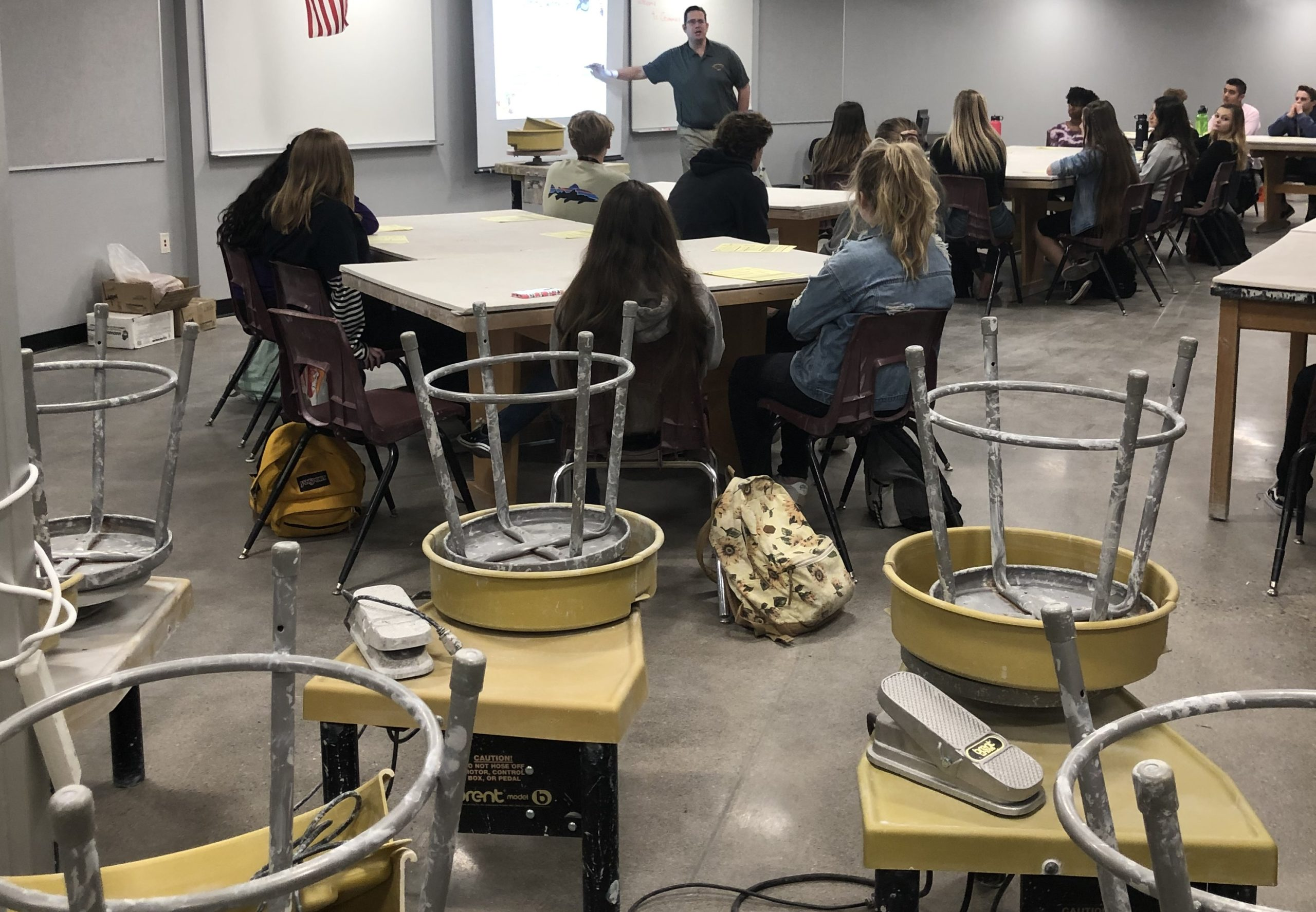 Ceramics Teacher Frank Eager With Students Inside A Classroom At The Newly Opened Sunrise Mountain Art Center (SMart Center) For Students On The Campus Of Sunrise Mountain High School. Photo Courtesy Of Peoria Unified School District