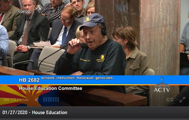 Holocaust education bill unanimously approved by House Education Committee Dr.-Samuel-White-on-Holocaust-bill-a-survivor-1-27-2020
