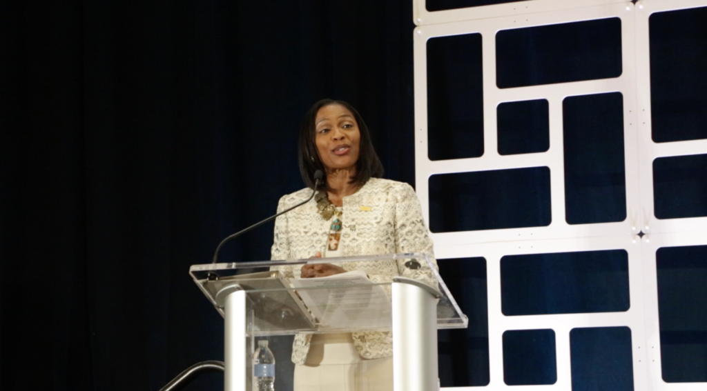 Get to know ASBA's new executive director and her priorities Dr.-Sheila-Harrison-Williams-at-podium-at-annual-conference-from-Brooke-1024x567