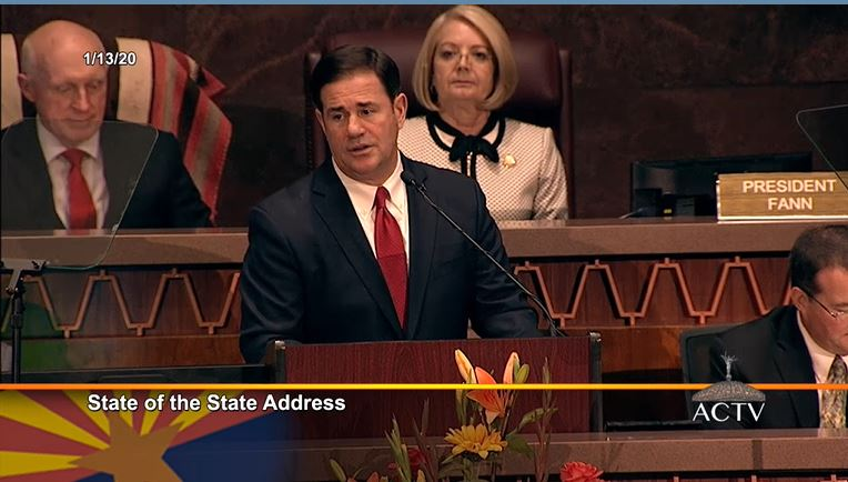 Gov. Ducey proposes new education investments, but no tax increase Gov-Ducey-Rusty-Bowers-and-Karen-Fann-at-State-of-the-State-2020-by-AZ-Capitol-TV