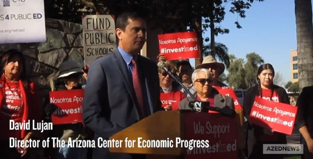 David Lujan, Director Of The Arizona Center For Economic Progress, Discusses The Invest In Ed Initiative Filed Jan. 13, 2020 During A Press Conference At The Arizona Capitol Rose Garden. Photo And Video By Morgan Willis/ AZEdNews