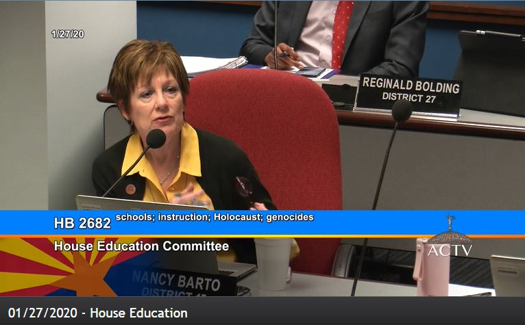 Holocaust education bill unanimously approved by House Education Committee Nancy-Barto-during-Holocaust-education-bill-1-24-2020