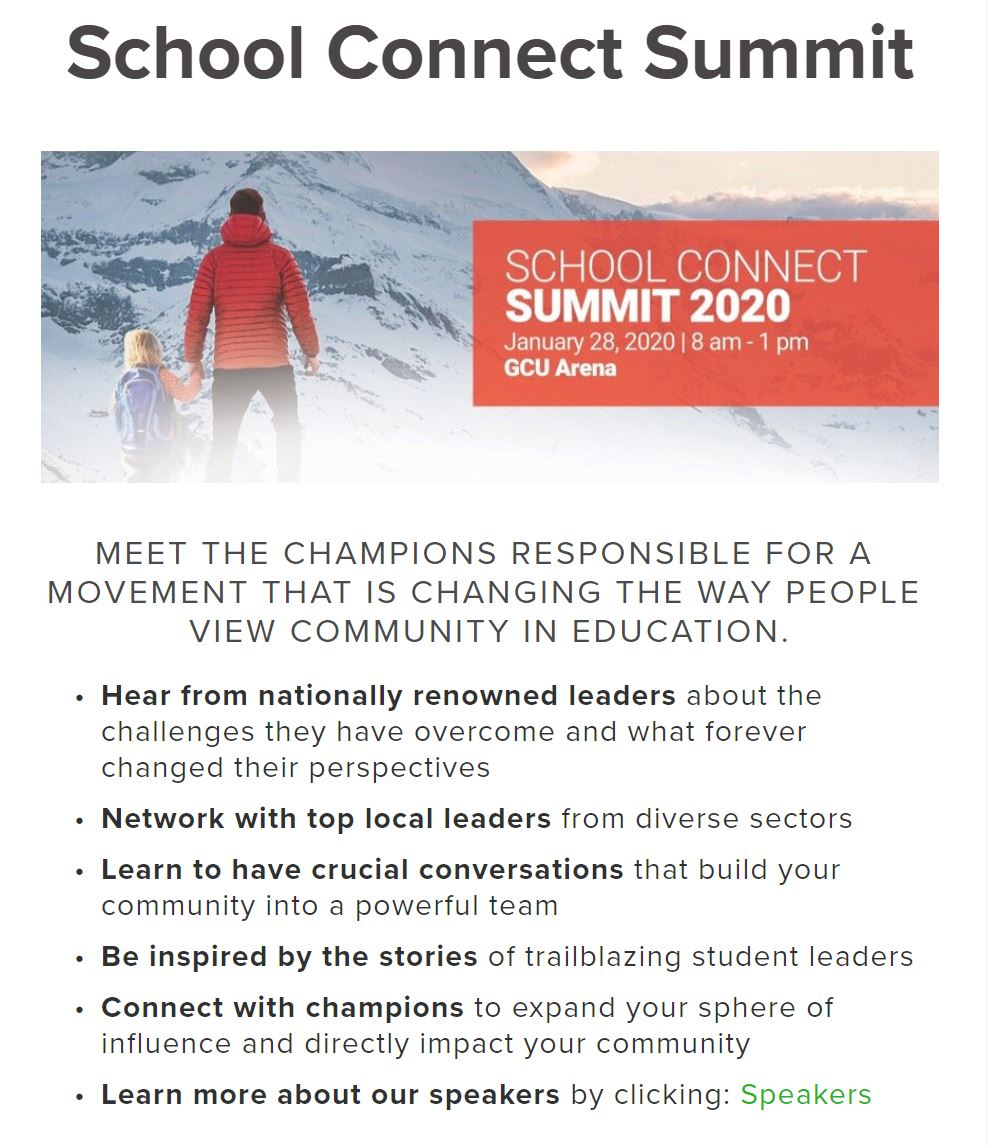 Flyer For School Connect Summit 2020 Courtesy Of School Connect AZ